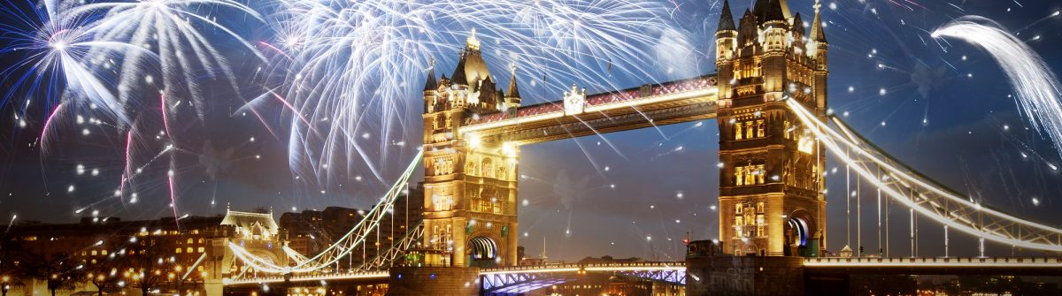 Tower bridge with fireworks, celebration of the New Year in London, UK_shutterstock_324955712