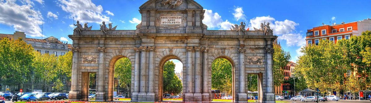 Colorful image of Puerta de Alcala (Alcala Gate) in Madrid, Spain in HDR (high dynamic range)_330096227