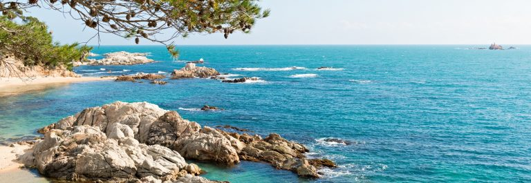 Landscapes and details of the Coast Brave (Costa Brava) in Girona (Spain)_588007202