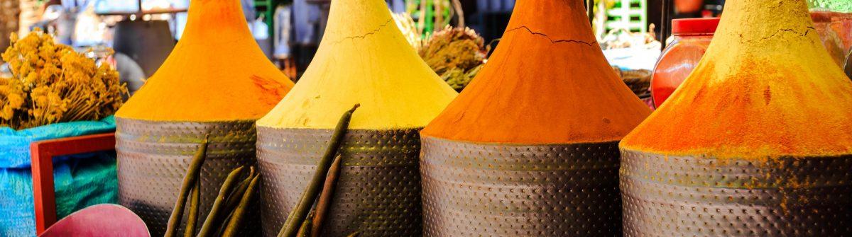 Moroccan spice stall in marrakech market, morocco_195659072