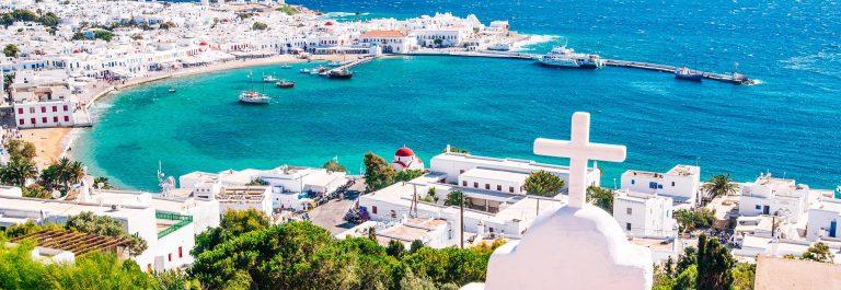 Mykonos Greece panorama view harbour shutterstock_458827315