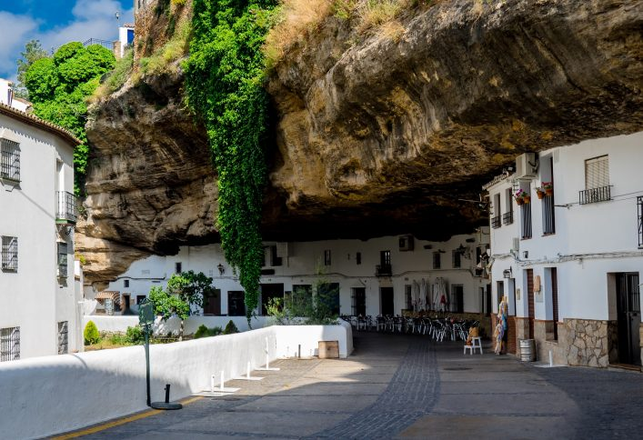 Setenil de las Bodegas Cityscape in Spain. White village in Cadiz, Andalusia. Sunshine tourism in summer._641314651