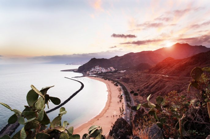 Sunset at Playa de Las Teresitas in Tenerife, Canary Islands