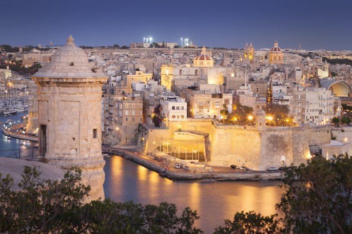 Night view of Valletta, Malta