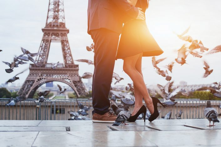 couple near Eiffel tower in Paris