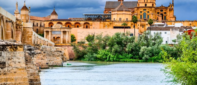 Cordoba, Spain, Andalusia. Roman Bridge on Guadalquivir river and The Great Mosque, Mezquita Cathedral_446998153