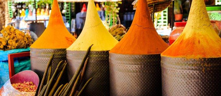 Moroccan spice stall in marrakech market, morocco_195659072