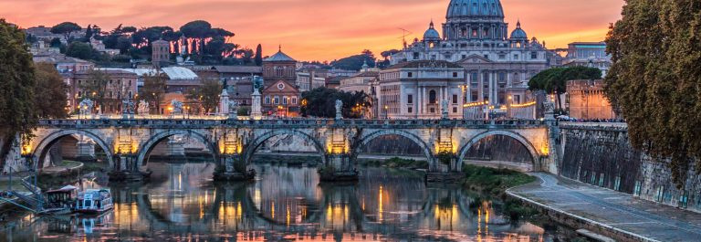 Skyline of Rome and St. Peter's Basilica, Italy.