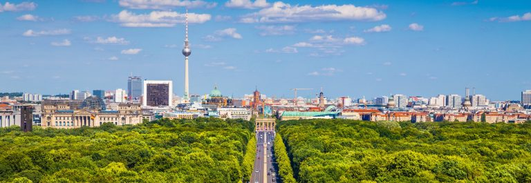 Berlin skyline with Tiergarten park in summer, Germany