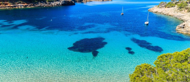 Cala Salada famous for its azure crystal clear sea water, Ibiza island, Spain shutterstock_660958126