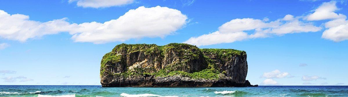 Castro islet in Andrin beach, Llanes (Asturias), Spain