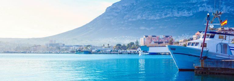Denia mediterranean port village with Mongo