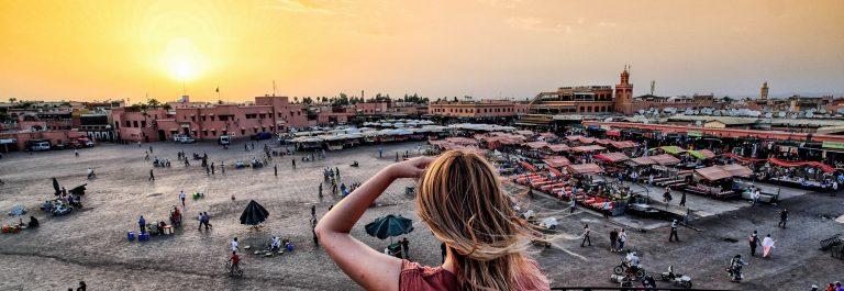 Jamaa el-Fna market Marrakech at sunset shutterstock_smaller_458611342-2
