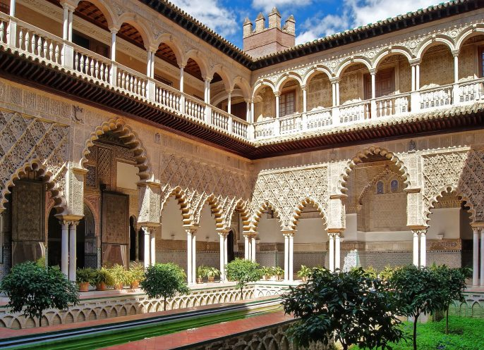 Real Alcazar of Seville, Patio of the Maidens shutterstock_98688926-2