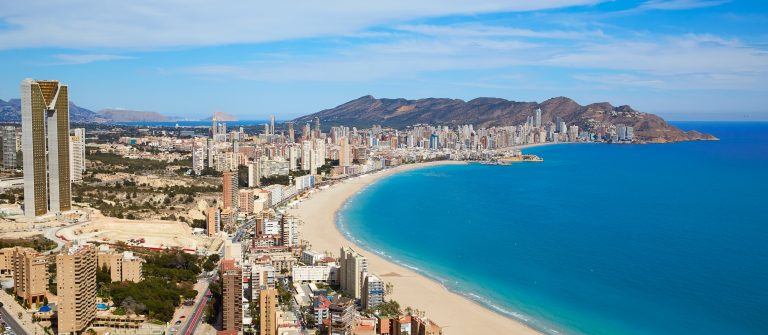 Benidorm beach aerial skyline in Alicante Mediterranean of Spain_441863377