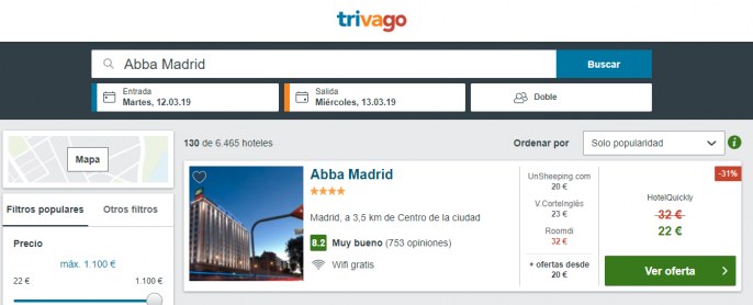 hotel en madrid tarifa error
