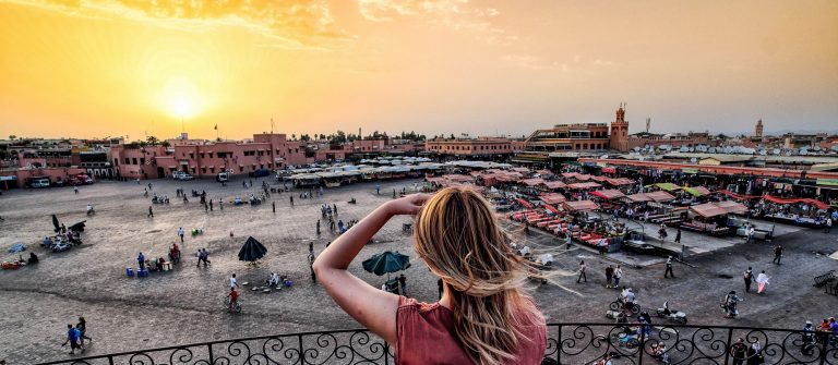 Jamaa el-Fna market Marrakech at sunset shutterstock_smaller_458611342-2