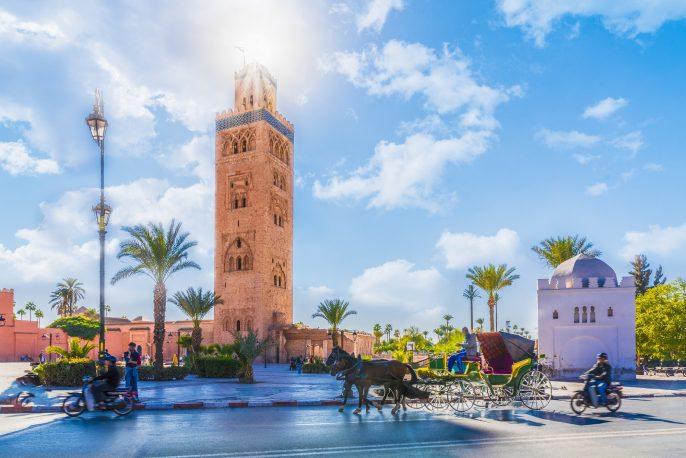 Koutoubia Mosque minaret located at medina quarter of Marrakesh, Morocco_757305544