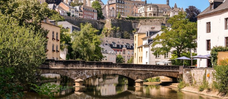 Luxembourg City, downtown city part Grund, scenic view with a bridge across the Alzette river_shutterstock_150268928
