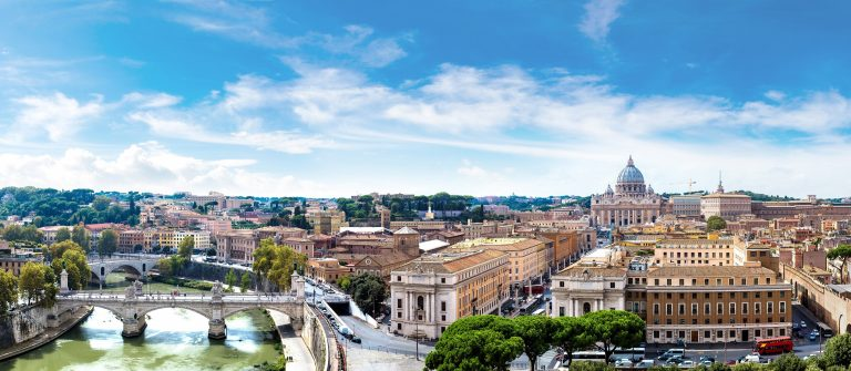 Panorama of Rome and Basilica of St. Peter in a summer day in Vatican shutterstock_351220472