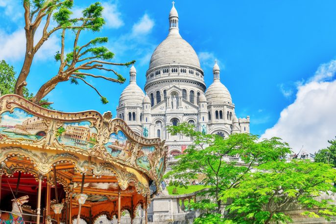 Sacre Coeur Cathedral on Montmartre Hill, Paris. France._515114275