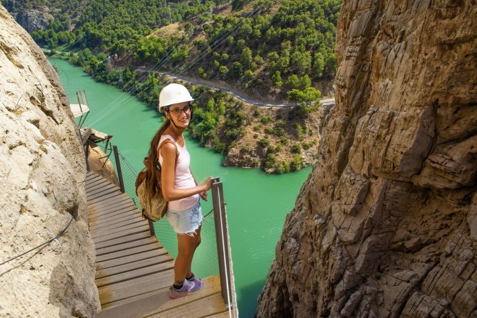 Woman hiking in mountainous area, in the Caminito del Rey, Malaga, Spain._312176381 x2000