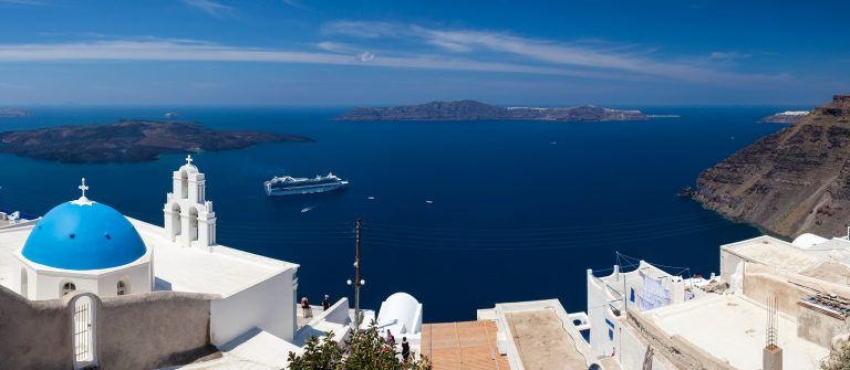 Blue Dome Church at Firostefani near Fira on Thira Island Santorini Greece_shutterstock_158466386 x2000