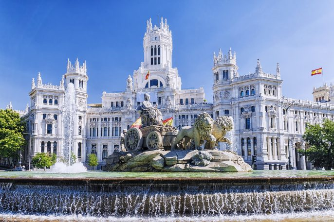Cibeles fountain in Madrid, Spain_556870582