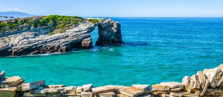Famous Spanish destination, Cathedrals beach (playa de las catedrales) on Atlantic ocean_238120963