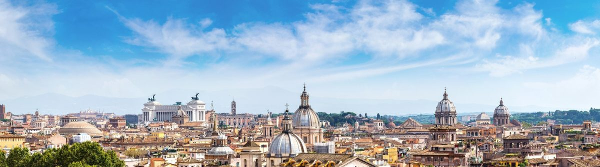 Panoramic view of historic center of Rome, Italy_350111417