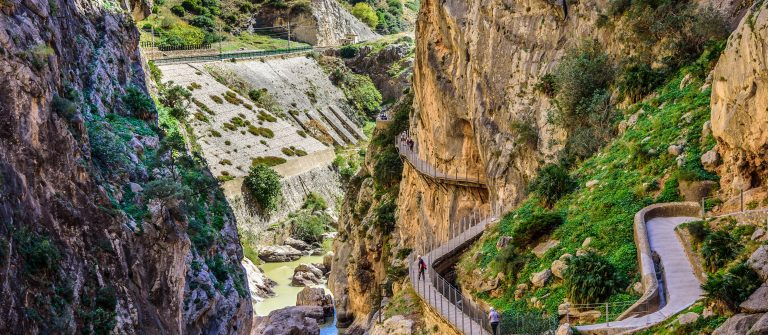 Caminito del Ray walking trail and via ferrata through the canyon Spain shutterstock_348056282-2