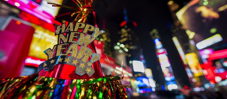 Happy New Year hat with colorful decoration in Times Square New York City_shutterstock_354724790