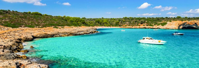 Majorca, beautiful bay with turquoise blue sea water, Cala Varques, Spain Balearic Islands