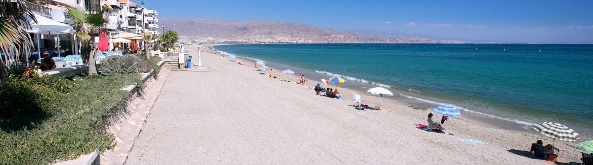 Mediterranean Sea as seen from promenade at Roquetas del Mar in Spain on the Costa del Almeria_1680861