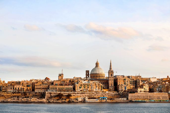 Early winter morning in Valletta, Malta.
