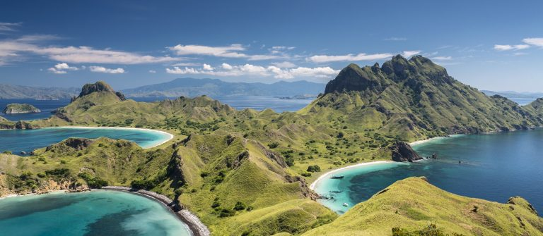 Mountain range in Komodo National Park in Indonesia