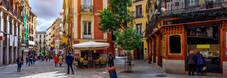Old cozy street in Madrid, Spain. Architecture and landmark of Madrid, postcard of Madrid_566971969