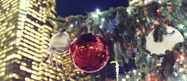 Christmas tree with decoration, Bryant Park,New York City