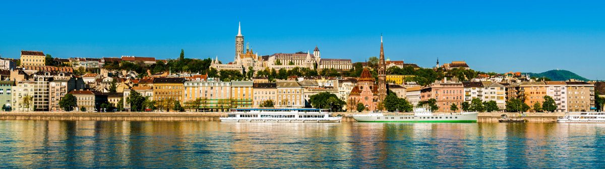 Riverfront cityscape in Budapest, hungary during the daytime
