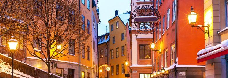 Evening-winter-scenery-of-street-in-Old-Town-Gamla-Stan-in-Stockholm-Sweden