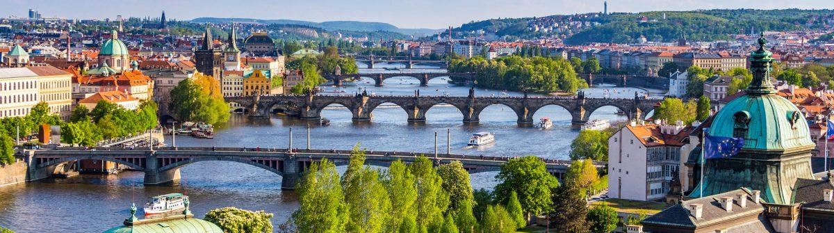 View of the Vltava River and the bridges, Prague