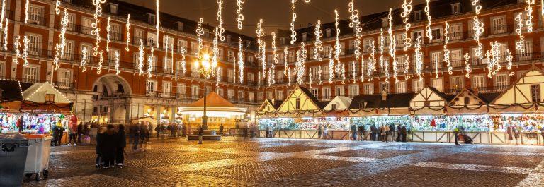 Main-square-of-Madrid-illuminated-for-christmas-shutterstock_159048302
