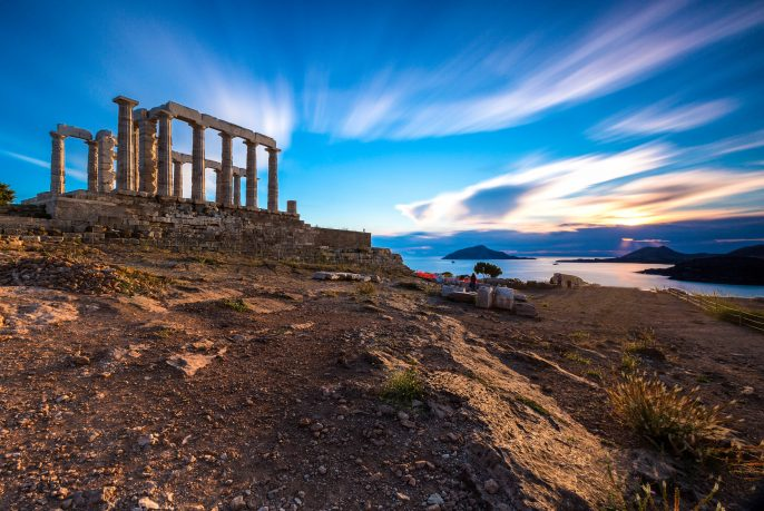 Sunset at Temple of Poseidon in long exposure