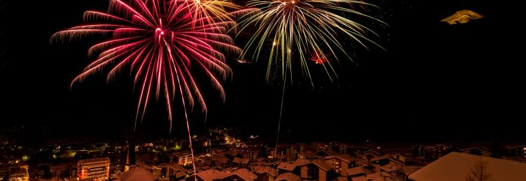 Fireworks over the village of Saas-Fee