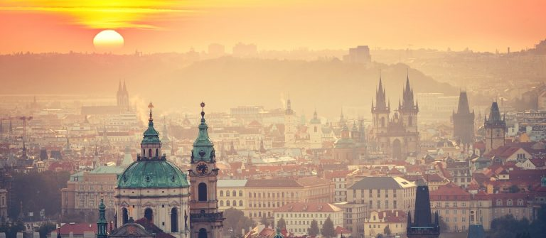 Prague at the sunrise