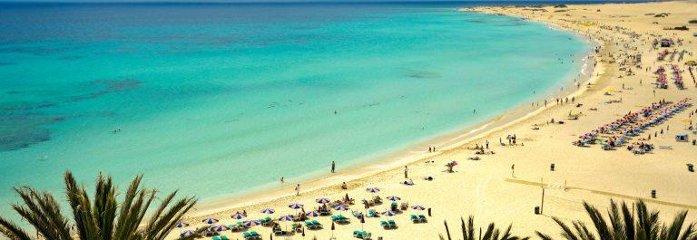 Tropical beach under blue sky