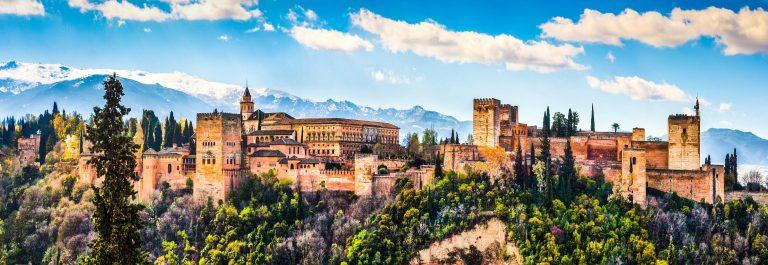 Panoramic view of famous Alhambra de Granada, Andalusia, Spain