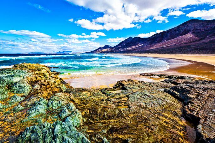 Rocky coast of the atlantic ocean at Fuerteventura