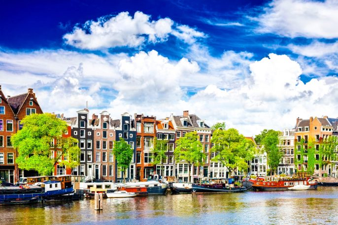 Amsterdam with canal in the downtown, Holland