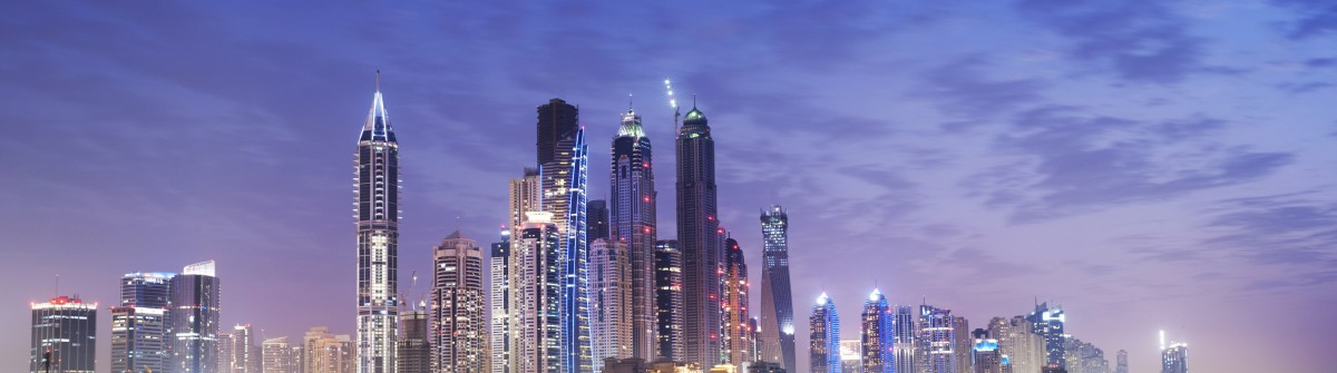 The Dubai Marina at dusk, Untied Arab Emirates, view from the Palm Jumeirah.